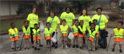 Group of children involved in litter cleanup